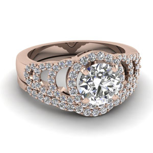 Halo Round Diamond Ring Set