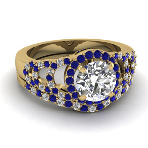 Yellow Gold Sapphire Wedding Set