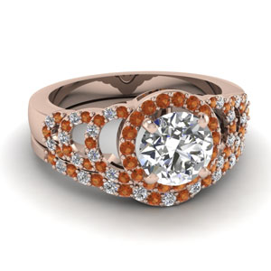 Orange Sapphire Pave Ring Set