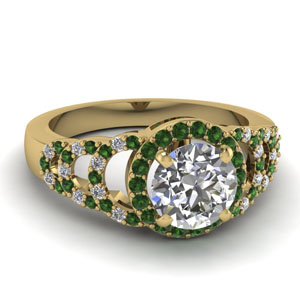 Half Circle Emerald Wedding Ring