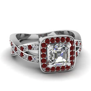 Pave Ruby Square Halo Ring