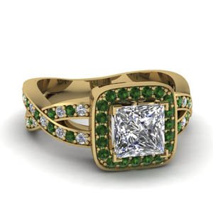 Halo Emerald Split Shank Ring