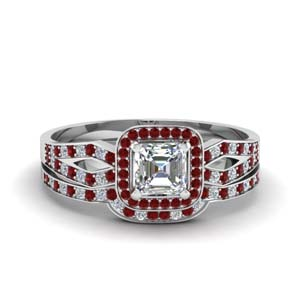 Ruby With Halo Wedding Set