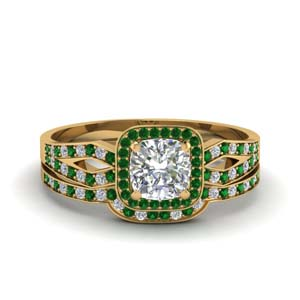 Emerald Split Shank Ring Set