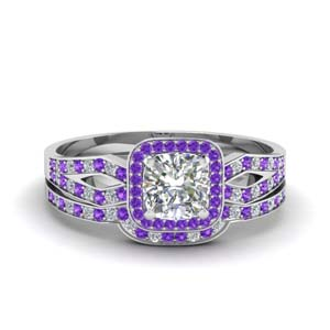 Purple Topaz Pave Wedding Set
