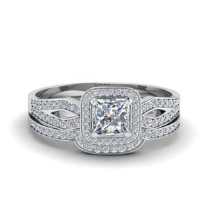 Halo Diamond Split Wedding Set