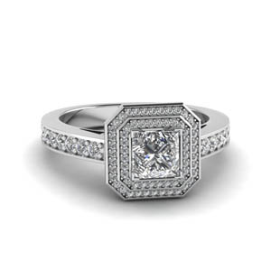 princess cut double halo pave diamond engagement ring in FDENS3248PRR NL WG