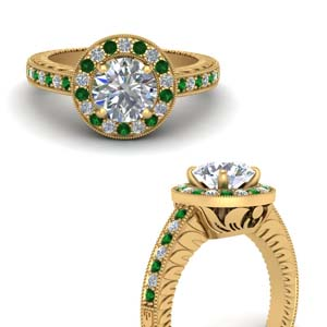 Emerald Antique Engagement Ring