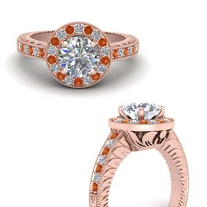 Rose Gold Pave Halo Ring