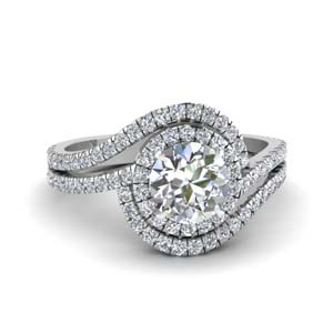 1 ct. diamond round twisted halo engagement ring in FDENS3258ROR NL WG