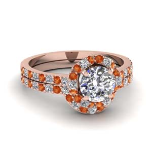 Orange Sapphire Moissanite Wedding Set