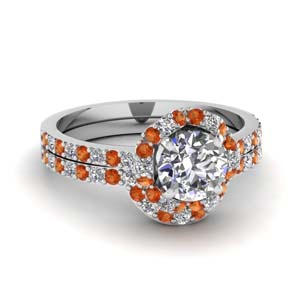Petite Orange Sapphire Wedding Set