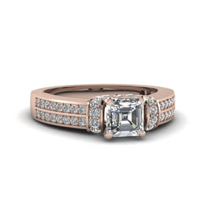 Classic Pave Asscher Cut 2 Row Ring