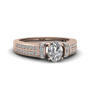 Oval Shaped Pave 2 Row Ring