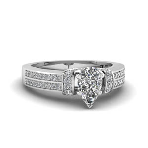 Pear Shaped Diamond Pave Ring