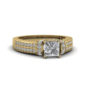 Princess Cut With Side Stone Pave Ring