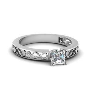 princess cut diamond carved floret engagement ring in 14K white gold FDENS3286PRR NL WG