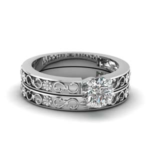 Round Cut Solitaire Wedding Ring Set