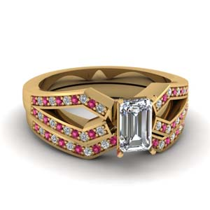 Emerald Cut Bridal Set With Pink Sapphire