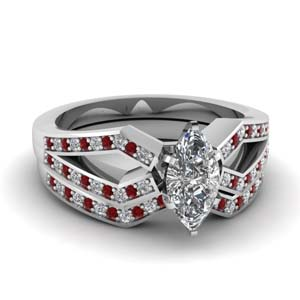 Pave Ruby Bridal Ring Set