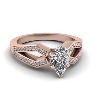 Pear Shaped Rose Gold Side Stone Rings