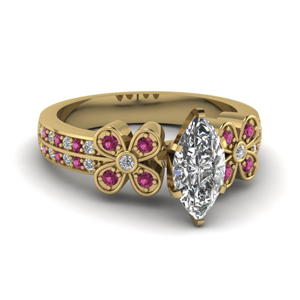 marquise shaped floral diamond ring with pink sapphire in 14K yellow gold FDENS3307MQRGSADRPI NL YG