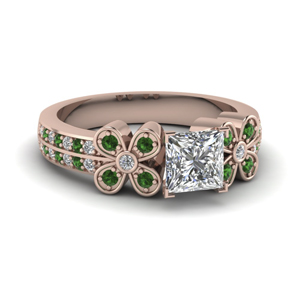 1 ct. princess cut 2 row diamond flower engagement ring with emerald in 14K rose gold FDENS3307PRRGEMGR NL RG