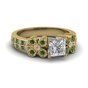 1 ct. princess cut 2 row diamond flower engagement ring with emerald in 18K yellow gold FDENS3307PRRGEMGR NL YG