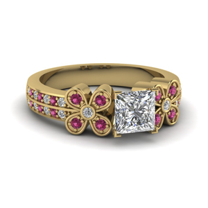 Gold Pink Sapphire Flower Ring