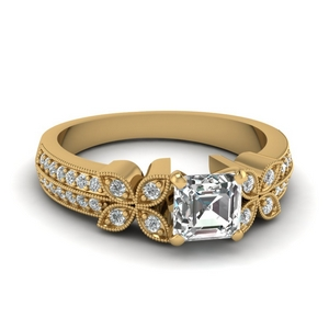 Diamond Daisy Milgrain Ring