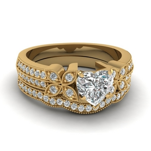 Petal Diamond Wedding Ring Set