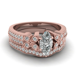 Petal Diamond Wedding Set