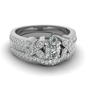 Milgrain Petal Diamond Wedding Set