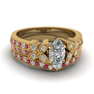 milgrain petal marquise diamond wedding ring set with pink sapphire in FDENS3308MQGSADRPI NL YG