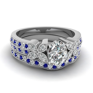 Milgrain Oval Diamond Wedding Ring Set