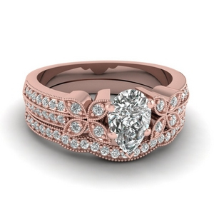 Flower Diamond Wedding Ring Set