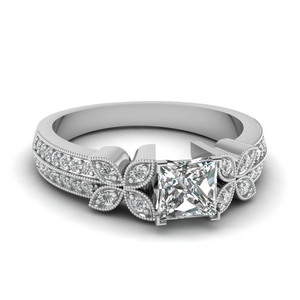 Milgrain Petal Engagement Ring