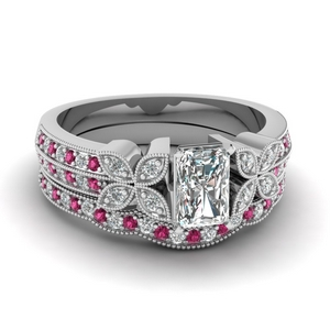 milgrain petal radiant diamond wedding ring set with pink sapphire in FDENS3308RAGSADRPI NL WG
