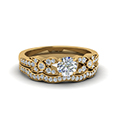 Flower Pave Diamond Wedding Ring Set