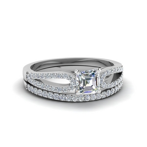 Loop Asscher Cut Wedding Set