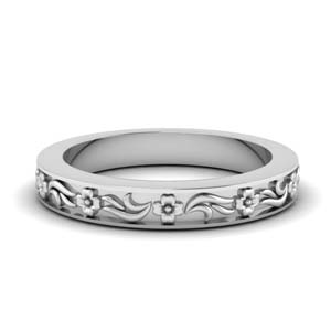 Engraved Floral Wedding Band