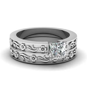 Flower Engraved Man Made Diamond Wedding Set
