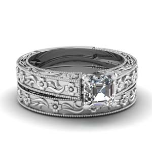 Milgrain Moissanite Wedding Ring Set