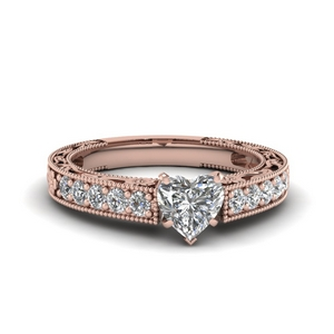 Milgrain Heart Diamond Rings