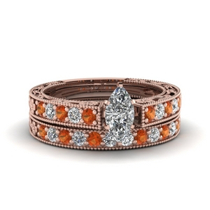 Rose Gold Daisy Bridal Ring Set