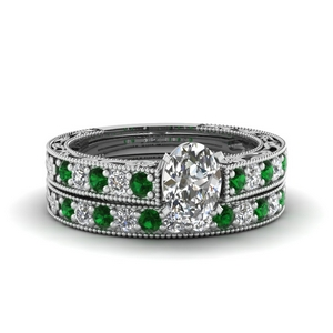 Emerald Pave Diamond Ring Set