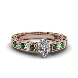 Pear Shaped Emerald Milgrain Ring
