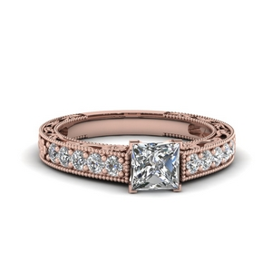 Princess Cut Milgrain Rings