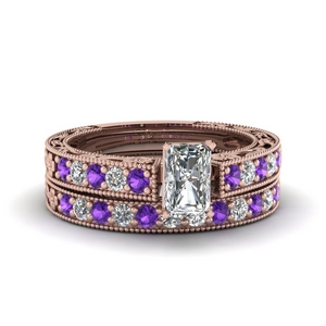 Floral Purple Topaz Wedding Set