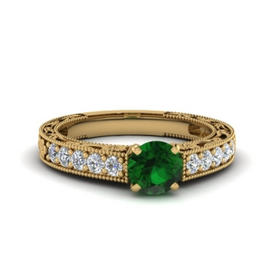 Emerald Filigree Design Ring
